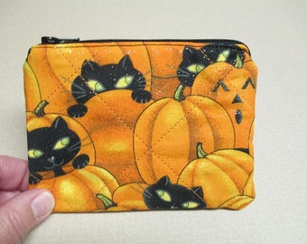 Halloween Coin Purse, black cats and pumpkins, quilted