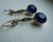 Large Georgian or Victorian Diamond and Sapphire Paste Dangle Earrings, Silver and 14K Gold