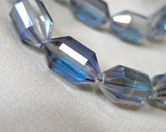 """ONLY 3 AVAILABLE  16"""" Gray Double Cone Faceted Crystal Beads, 16mm x 10mm, 16"""" Strand, blue and purple rainbow finish"""