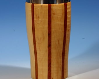 Curly Maple with Jatoba Accents Wooden Travel Mug with Stainless Steel Insert and Sliding Sipper Top