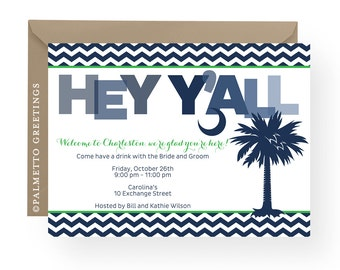South Carolina Palmetto Moon Hey Y'all Invitation, Save the Date, Rehearsal Dinner, Birthday with Palmetto Tree and Chevron