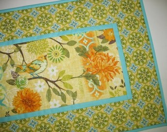 Bluebird Floral Table Runner, Fall, Spring, Summer, fabric from StudioE bluebird line