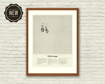 STRANGER THINGS Inspired Art Print Movie Poster - 11 x 14 Minimalist, Mid Century Modern, Vintage Style, Schwinn, Bicycle, Volkswagen, bug