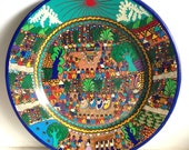 "Vintage Mexican Folk Art Wedding Platter Red Clay Pottery 16"" Redware"