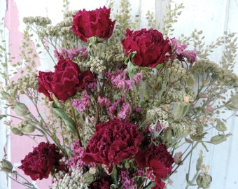 Dried Flower Bouquet Floral Arrangement Peonies Pink Peony Yarrow Meadow Grass Flower Pods Limonium Free Lavender Sachet