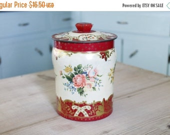 SHOP SALE Vintage Red Floral Canister Tin