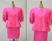 Vintage 80s Suit Size Large XL Jacket and Skirt By Richilene Bright Pink Fuchsia Silk// Vintage Designer Suit Size Large XL