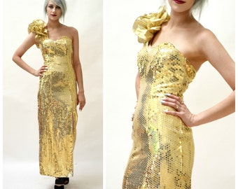 Vintage Gold Metallic 80s Prom Dress Size XS Small// Vintage Gold Sequin Evening Gown Pageant Drag Queen Dress Size XS Small by Flirtations