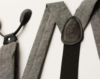 Black Button On Suspenders // Black Leather and Linen // Vintage Style Suspenders // Vintage Braces