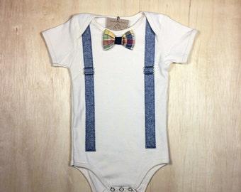Suspenders and Bowtie BabySuit // Blue Linen // Snap on Bow // Bluelinen // Baby Boy Onesie