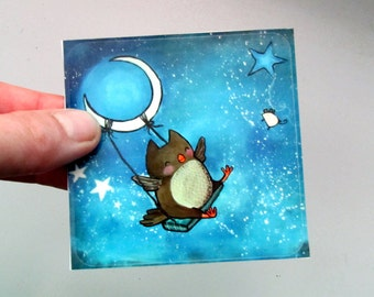 Large Owl Sticker Fun Whimsical Art Cute Moon Swing Stars Stationery for Kids