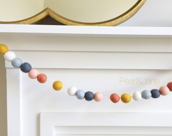 Fall Felt Ball Garland, Banner, Bunting - Gray, Peach, Coral, Ivory, and Mustard - READY TO SHIP!!