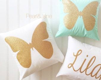 Personalized Butterfly Heart Throw Pillow Cover : Colored Decorative Throw Pillow W/INSERT Gold or Silver