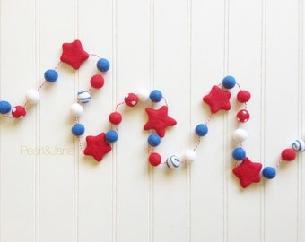 Patriotic Felt Ball and Star Garland, Bunting, Banner - Swirl and Polka Dots included - READY TO SHIP!!