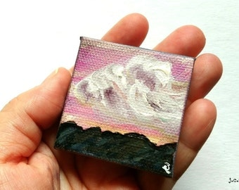 "Cloud Painting: 2x2"" Mini Original Art, Mountain painting, Cloud painting, Landscape Miniature, Mixed media Original, pink orange ""Vista VI"""