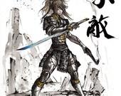 8x10 PRINT Fallout style Girl Samurai Warrior Japanese Calligraphy UNAFRAID