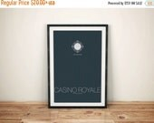 GEEKLOVE SALE Casino Royale Inspired Alternate James Bond Movie Poster // Pinstripe Suite Pattern, Poker Chip, and Movie Quote Illustration