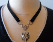 """Handmade Black Velvet Ribbon Necklace/Choker with Fox Pendant in Antique Silver, 17"""" with 3"""" Extender Chain"""