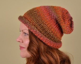 KNIT HAT-Orange Brown Pink and Olive- acrylic yarn