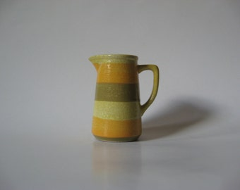 Wee Holt Howard yellow green striped vintage creamer mini pitcher 70s ceramic