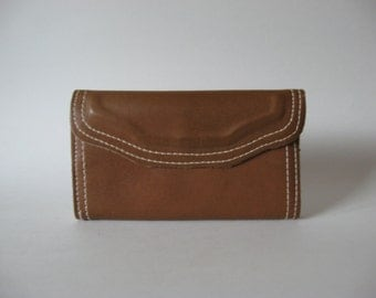 Milk chocolate brown vintage 70s suede & leather hippie wallet pocketbook purse lots of storage