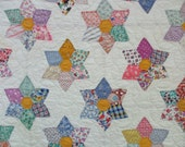 Feedsack Star Quilt - Handmade and Hand Quilted - 1940's -76 X 88 Inches - 98 Stars - Gorgeous -  NC
