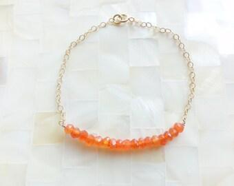 Juicy Orange Carnelian Faceted Rondelle Bead Bar on Gold Chain Bracelet (B1224)
