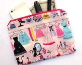 Pink Makeup Bag - Kawaii fabric cosmetic pouch, cosmetic bag, cute pencil bag, pencil pouch, clutch bag, Japanese fabric