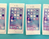 4 individual white large IPhone 6 edible image wafer papers for your iced cookies, cakes and bars