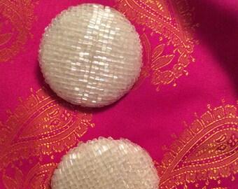 Big beaded clip on earrings aurora borealis beads/White