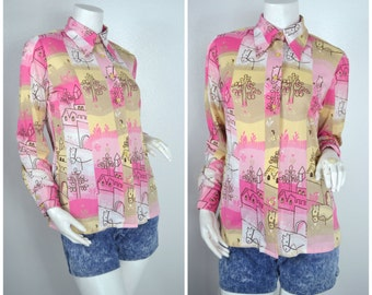 70s 60s pink horse novelty print pointy big collar button up shirt