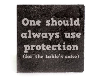 Coasters Set of 4 - black granite laser - 9947 One should always use Protection