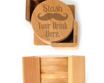 Wooden Round Coasters - Set of 6 with holder - 2497 Stash Your Drink Here