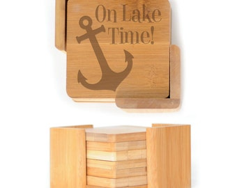 Wooden Square Coasters - Set of 6 with holder - 2584 On Lake Time!