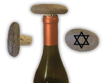 Engraved Symbol Wine Stopper on Natural Stone  - 6979 Star of David