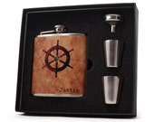 Nautical Gift Flask // Personalized Ships Wheel Hip Flask
