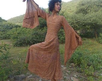 Gypsy Goddess Wide sleeves khadi cotton Dress~