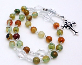 Protestant Prayer Beads / Anglican Rosary in Blue Vein Agate with TierraCast Pewter Fleur Cross