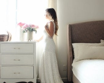 Lace Wedding Gown With Train Sheer Back boho wedding dress- Grazia Gown Custom