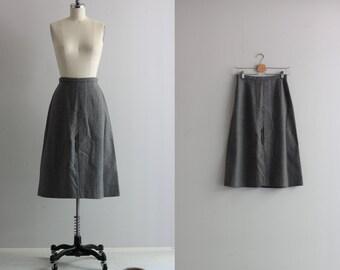 Vintage Midi Skirt . Grey A Line Skirt . 60s 70s Gray Split Front Skirt