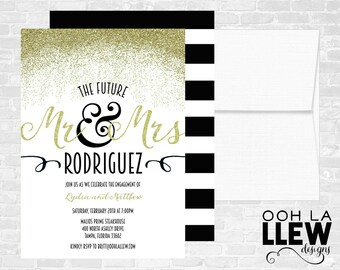 Mr. and Mrs. Engagement Party Invitation