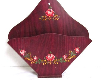 Wall Pocket Vintage Red Wooden Folk Art 1950s Kitchen Flowers Wall Decor Cottage Chic 1950s