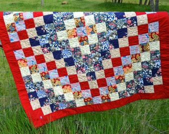 Bohemian Quilted Throw, Picnic Blanket, Trip Around the World