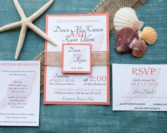 Beach Wedding Invitation, Destination Wedding Invitation, Burlap Wedding Invitation, Sea Shell Wedding Invitaton, Custom Wedding