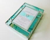Stained Glass Keepsake Gift Box Bat Mitzvah Invitation 7x9x2 Handmade Custom Made-to-Order