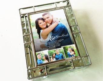Elegant Stained Glass Wedding Keepsake Beveled Memory Box 7x9x2 Wedding Invitation Bride Groom Photograph Engagement Custom Made