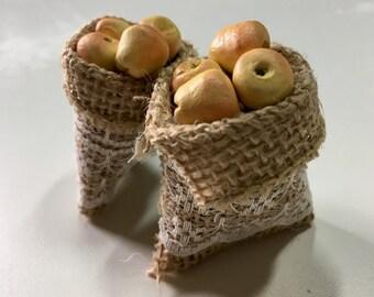 Miniature Burlap Sacks of Apples   Dollhouse Food