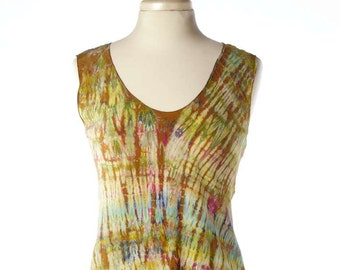 S/M Silk Crepe d'chine Shibori Bias Tunic Tank Top Golds Size Small/Medium