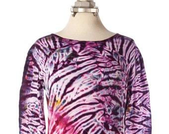 M Shibori Long Sleeve Tie Dye T-Shirt Burgundy Purple Women's Shibori Clothing
