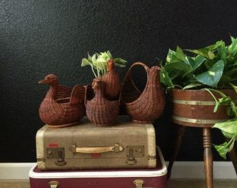 vintage woven wicker duck baskets  / set of 4